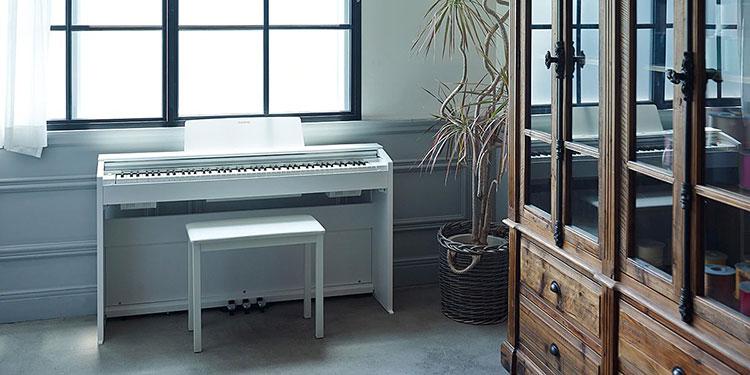 Privia Piano có phím đàn mô phỏng gỗ mun và ngà voi, mang đến cảm giác phím chân thực