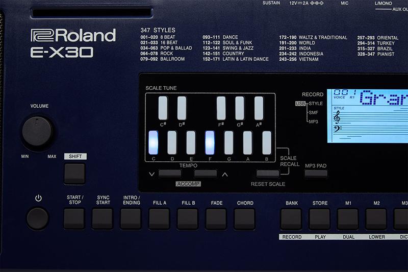 roland e-x30 đa dạng các phong cách âm nhạc truyền thống